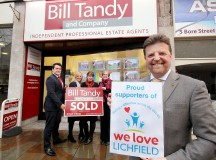 LFTS20160112JOB 01-2130_C.JPG 120116 Bill Tandy Estate Agents, Bore Street, Lichfield  The company are supporting 'We Love Lichfield' appeal  Staff pose outside the Bore Street offices